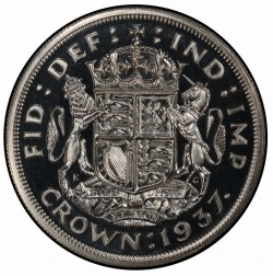 PCGS/NGC合わせて唯一のDeep Cameo 1937年 英国 ジョージ6世 プルーフクラウン銀貨 PCGS PR66DCAM