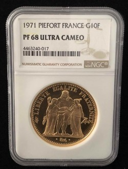 1971年 フランス 10フラン ピエフォー プルーフ金貨 NGC PF68UC