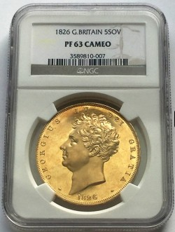 1826年 英国 ジョージ4世 5ポンドプルーフ金貨 NGC PF63 CAMEO