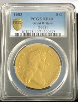 PCGS, NGC合わせ鑑定品わずか5枚 1683年 英国 チャールズ2世 Second Bust 5ギニー金貨 PCGS XF40