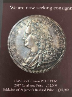 1746年 英国 ジョージ2世 プルーフクラウン銀貨 NGC PF65