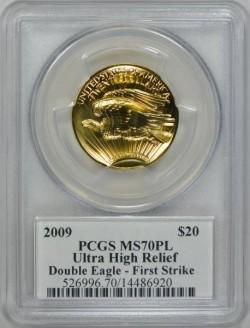 2009年 米国 ウルトラハイリリーフ金貨 PCGS MS70PL ファーストストライク Moy氏サイン