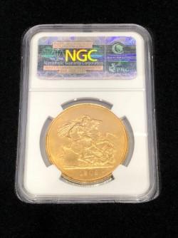1902年 英国 エドワード7世 5ポンド金貨 NGC MS61