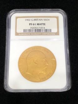 1902年 英国 エドワード7世 5ポンド金貨 NGC PF61 Matte