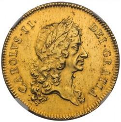 1673年 英国 チャールズ2世5ギニー金貨 NGC AU58
