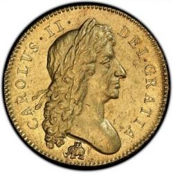 PCGS&NGC合わせて最高鑑定 1684年 英国 チャールズ2世5ギニー金貨 エレファント & キャッスル PCGS AU58