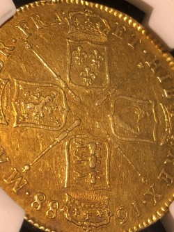 NGC2位 1688年 英国 ジェームス2世5ギニー金貨 First Bust NGC XF45