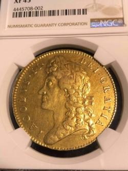 1688年 英国 ジェームス2世5ギニー金貨 First Bust NGC XF45