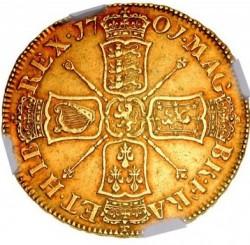 1701年英国ウィリアム3世5ギニー金貨 NGC XF45