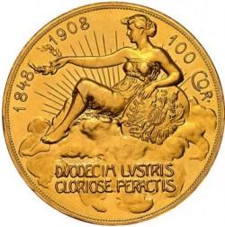 やっと入荷!1908年 オーストリア 100コロナプルーフ金貨 雲上の女神 NGC PF62