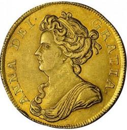 飛びついて下さい 1711年 英国 アン女王2ギニー金貨 NGC AU58