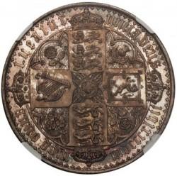 レア 美しい 1847年 英国 ゴシック(ゴチック)クラウン銀貨 UNDECIMO NGC PF64