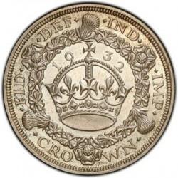 R5 プルーフは激レア! 最高鑑定 1932年 英国 ジョージ5世 プルーフクラウン銀貨 PCGS PR65