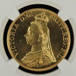 高鑑定のレア品 1887年 英国 ジュビリー5ポンド金貨 NGC MS66