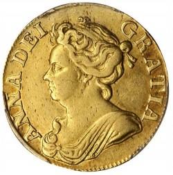 SPINK評価額7500ポンド 1710年 英国 アン女王 ギニー金貨 PCGS AU50