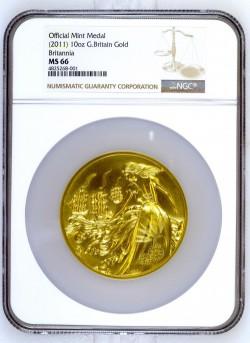 純金313グラム 発行25枚のみ 唯一の鑑定品 超レア 2011年(ND) 英国公式 10オンスゴールドメダル NGC MS66